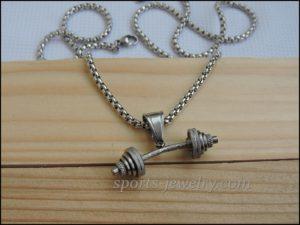 Barbell pendant Fitness jewelry