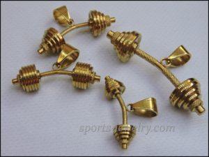 Barbell pendant Gold barbell pendant