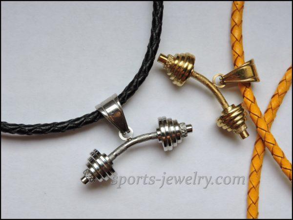 Barbell pendant Silver barbell pendant