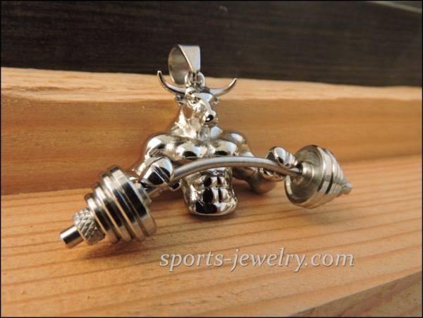 Bull barbell pendant.