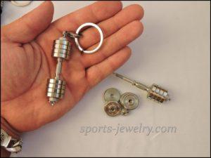 Dumbbell keychain stainless steel