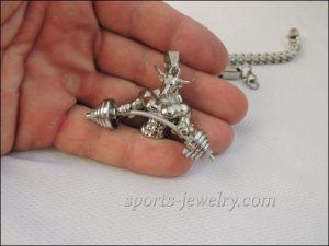 Sports jewelry Bull barbell pendant