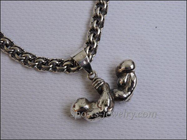 Armwrestling pendant silver