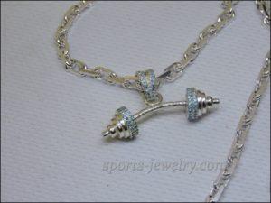 Barbell keychain Fitness jewelry photo