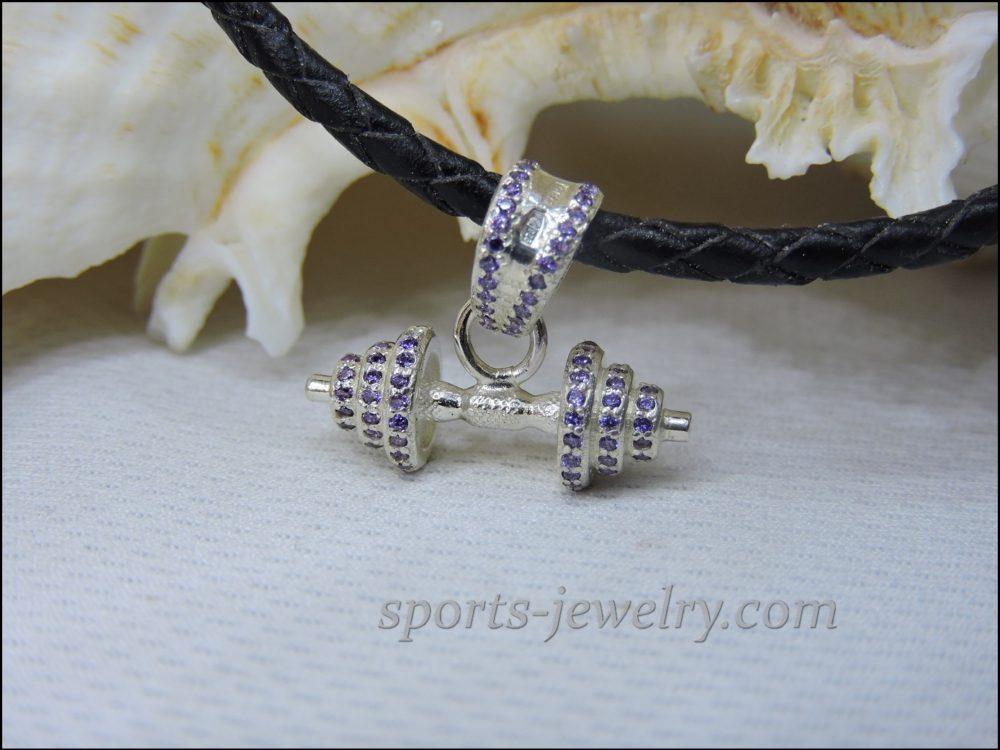 Barbell pendant Fitness jewelry photo