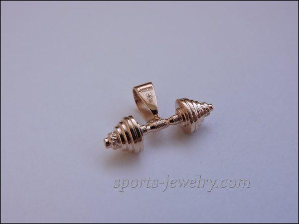 Barbell pendant gold Fitness gift
