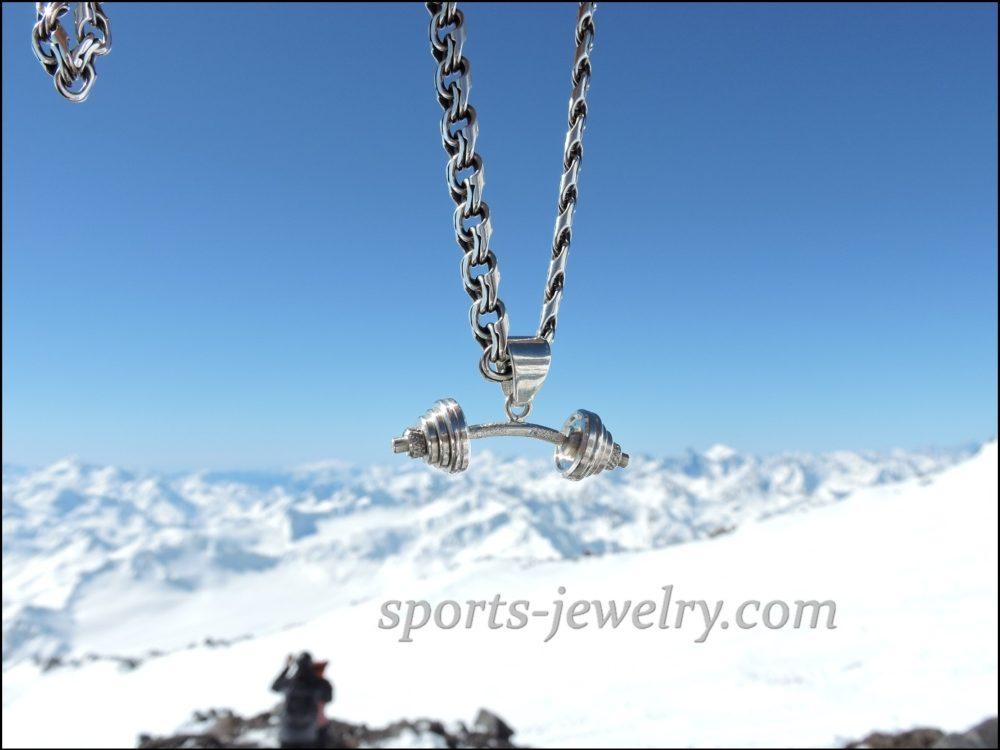 Barbell pendant silver Bodybuilding pendant