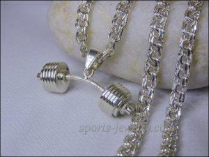 Barbell pendant silver Dumbbell pendant