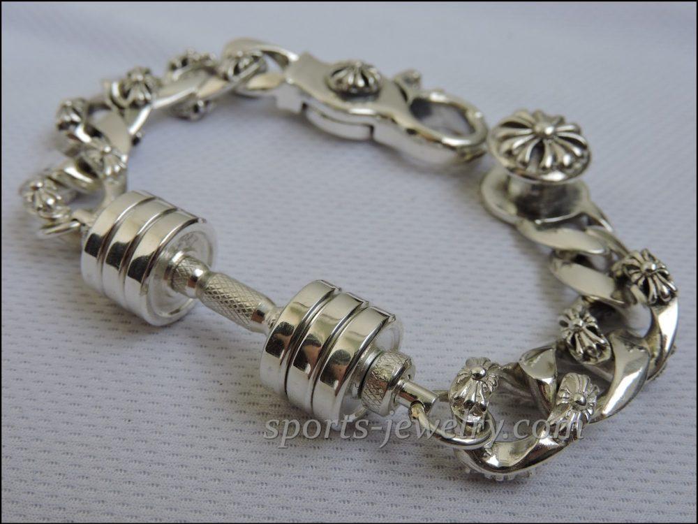 Bracelet barbell silver Crossfit jewelry