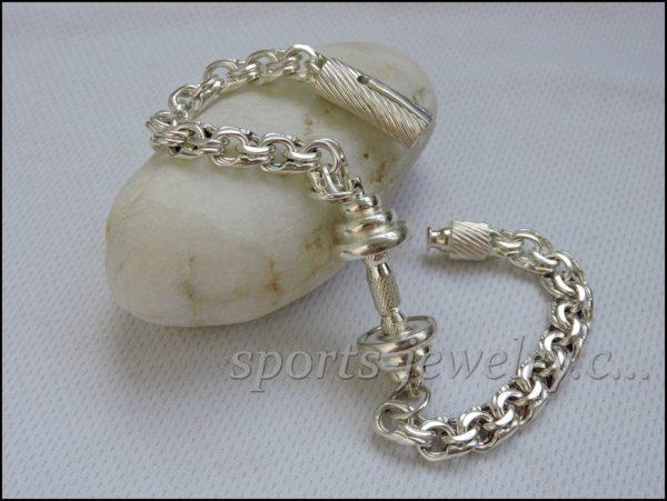 Bracelet barbell silver Fitness gift