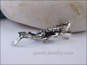 Diver pendant silver