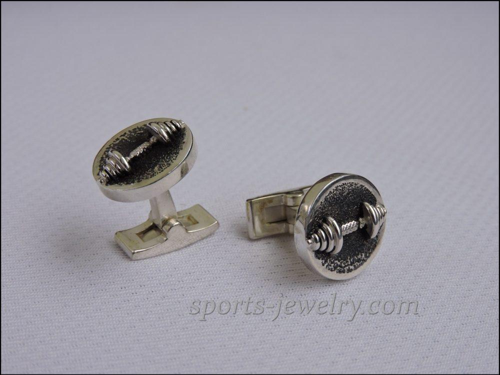 Dumbbell cufflinks Sports jewelry