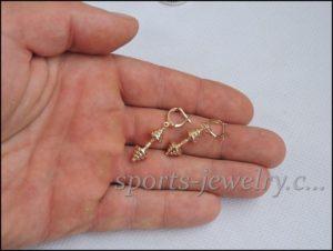 Dumbbell earrings gold Sports gift