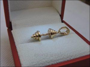 Dumbbell necklace Dumbbell pendant gold