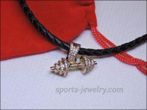 Dumbbell pendant gold Bodybuilding chain