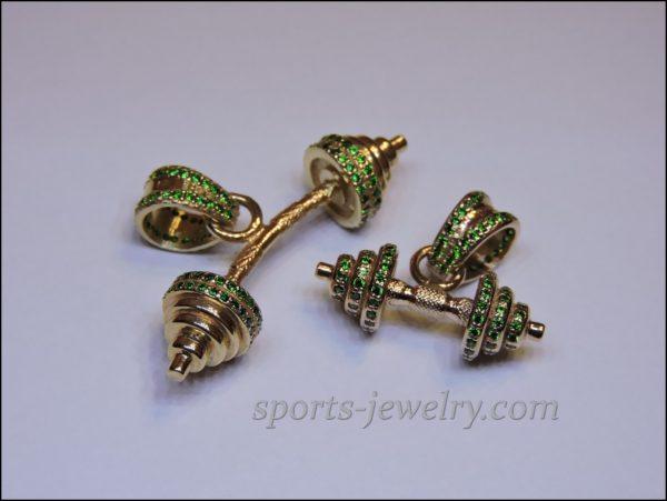 Dumbbell pendant gold Bodybuilding jewelry