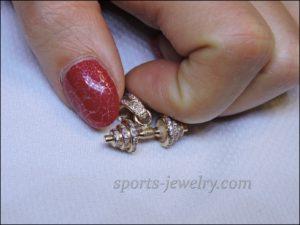 Dumbbell pendant gold Dumbbell necklace