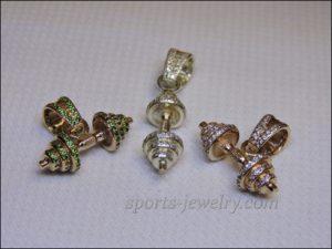 Dumbbell pendant gold Fitness girl gifts
