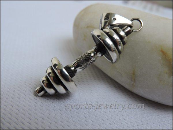 Dumbbell pendant silver Crossfit gift