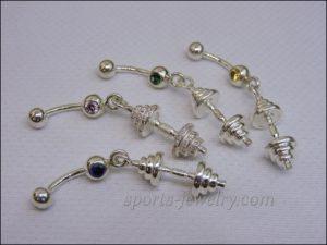 Dumbbell piercing Crossfit jewelry
