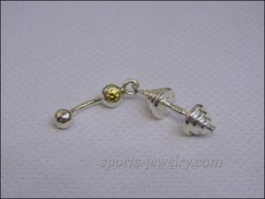 Dumbbell piercing Gym pendant