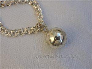 Football ball pendant silver