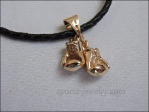 Gold boxing gloves pendant
