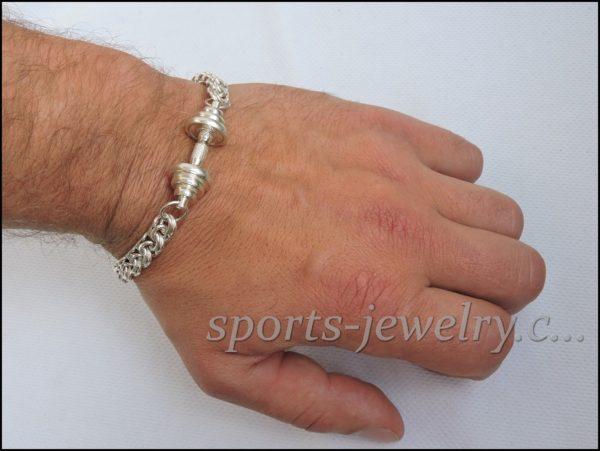 Gym jewelry Bracelet barbell silver