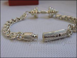 Mens sports bracelets Bracelet barbell silver