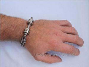 Mens sports bracelets Bracelet barbell stainless steel