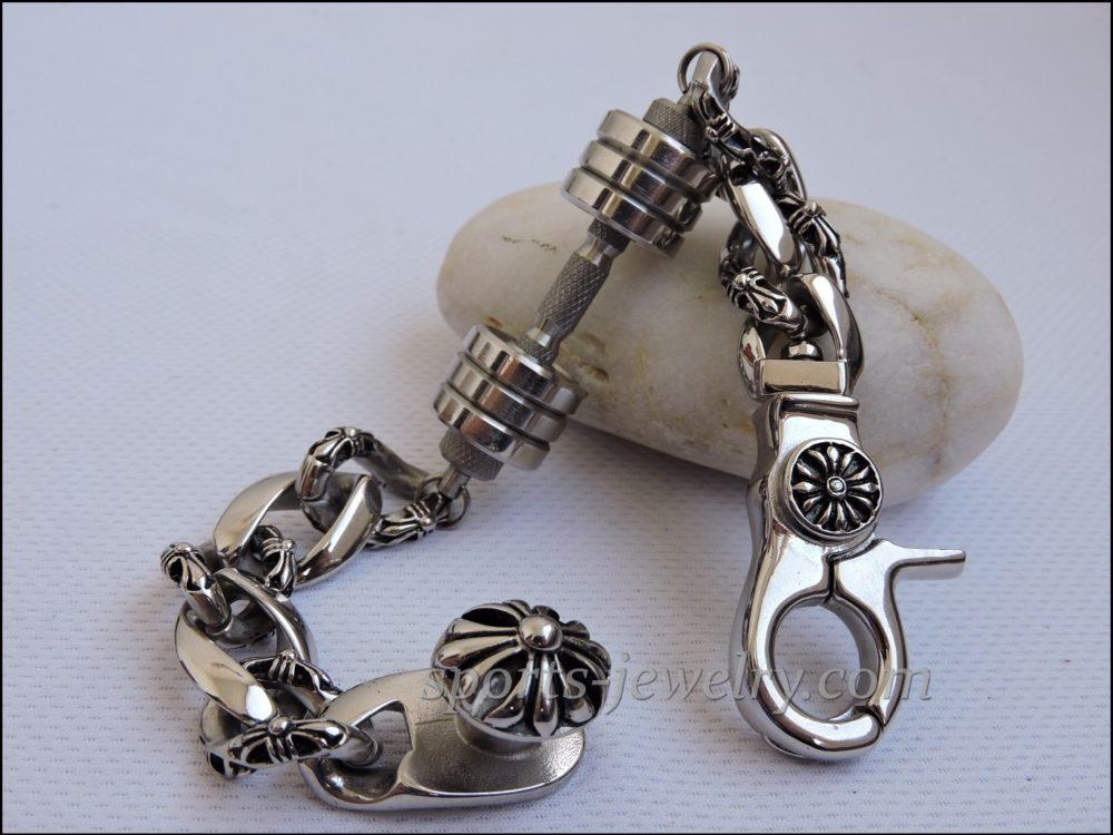 Mens sports bracelets silver Bracelet barbell