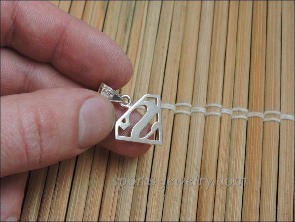 Superman silver necklace
