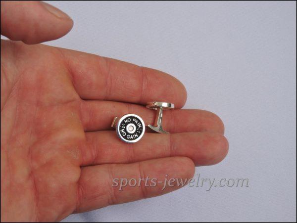 Weight plate cufflinks Sports jewelry