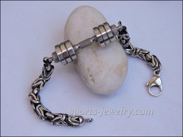 Barbell bracelet Mens dumbbell bracelet