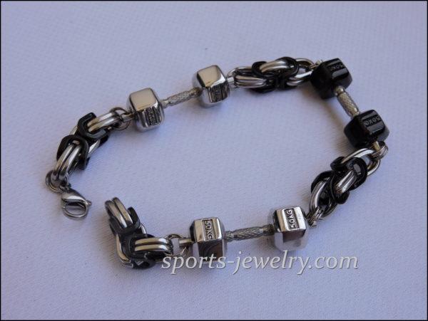 Black dumbbell bracelet Dumbbell bracelet