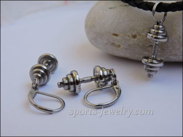 Dumbbell earrings Sports jewelry
