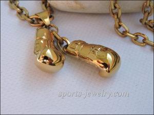 Golden gloves necklace Golden gloves jewelry