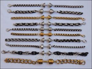 Titanium sports bracelet Bracelet dumbbell Gym gifts