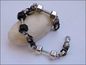 Weight lifting bracelets Black dumbbell bracelet