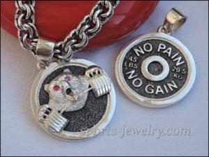 Bear necklace Gym pendant