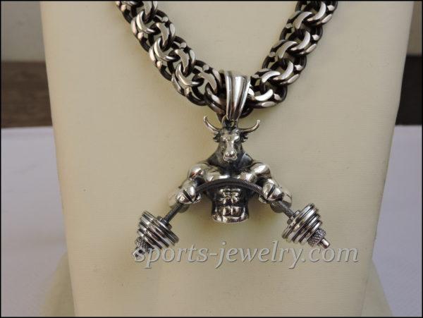 Bull pendant Bismarck chain Sports gift for men