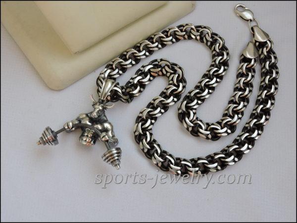 Bull pendant. Sports gift for men. Bismarck chain