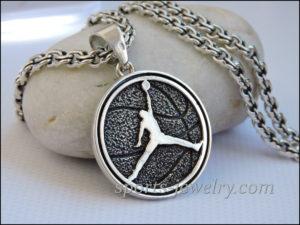 Silver Basketball necklace