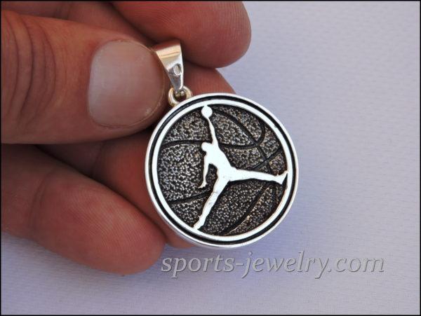 Silver Basketball pendant