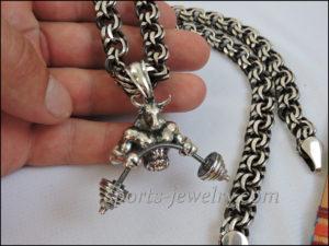 Sports gift for men Bull pendant Bismarck chain