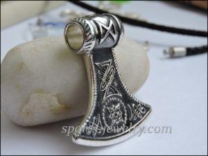 Axe pendant necklace silver