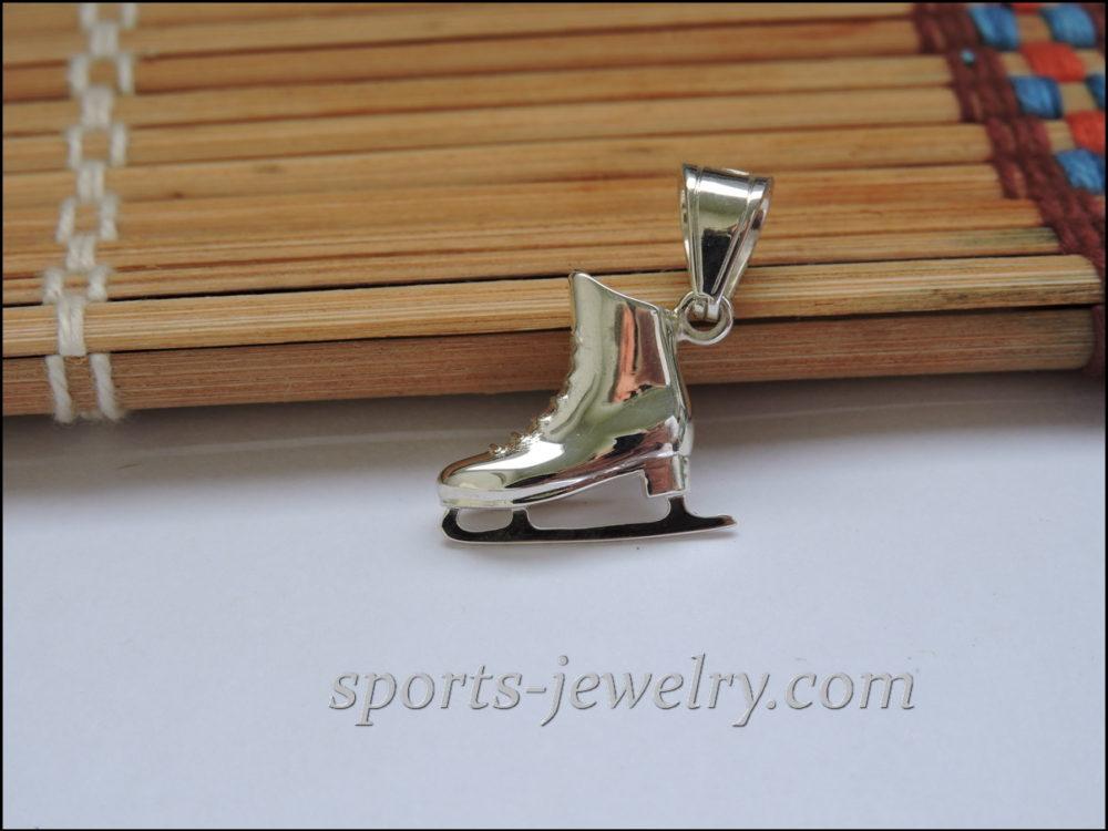 Silver Figure skate pendant