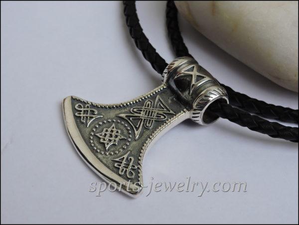 Silver axe necklace