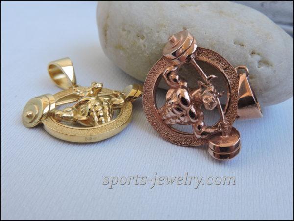 Gold bull pendant Gift for bodybuilding
