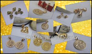 Gold sport pendants Bodybuilding necklace Sports jewelry